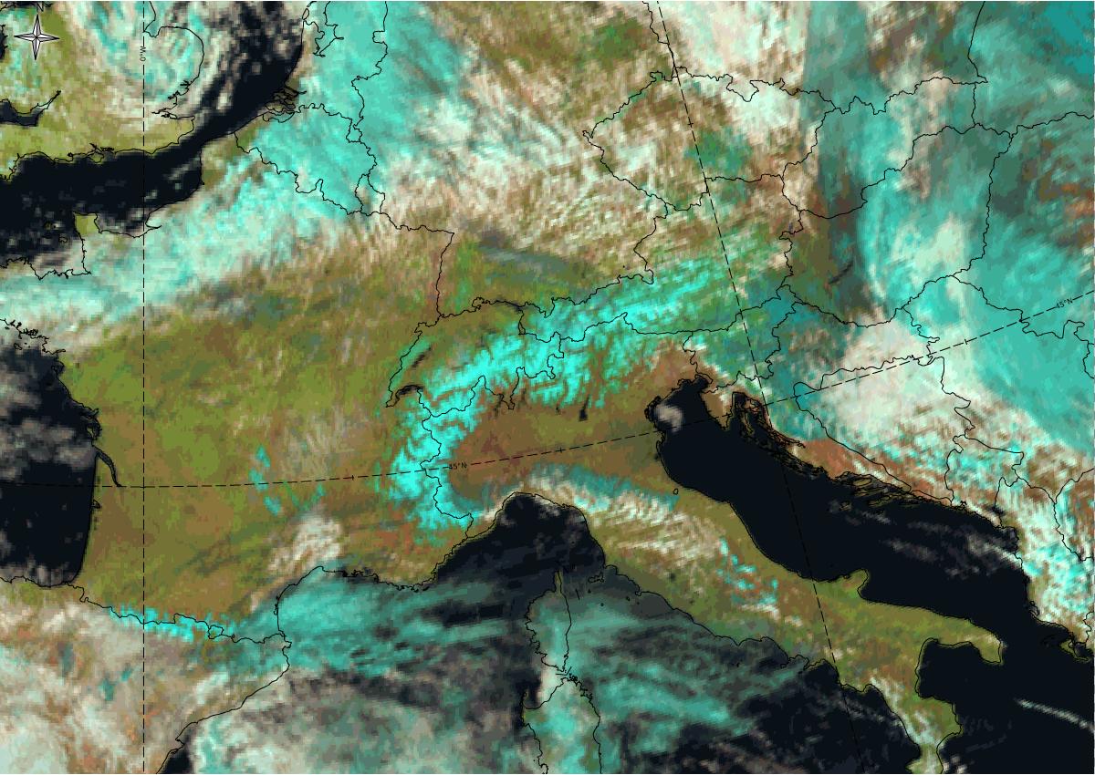 Satelitska snimka snijega na Alpama